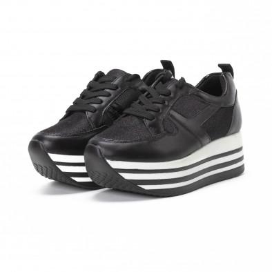 Γυναικεία μαύρα sneakers με χρυσόσκονη και πλατφόρμα it150818-29 3