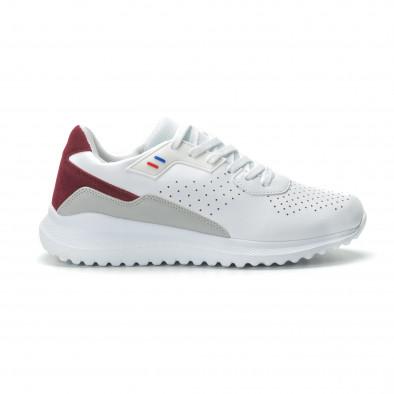 Ανδρικά λευκά αθλητικά παπούτσια με διακοσμήσεις ελαφρύ μοντέλο it250119-17 2