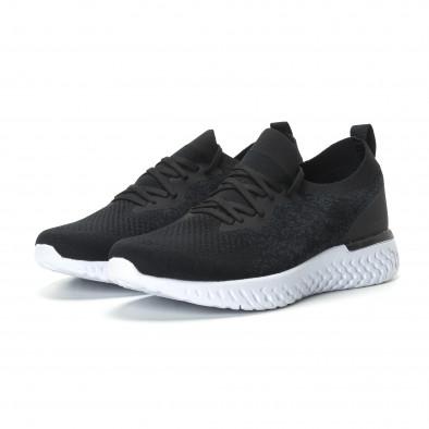 Ανδρικά μαύρα μελάνζ αθλητικά παπούτσια  it190219-1 3