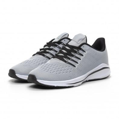 Ανδρικά γκρι αθλητικά παπούτσια ελαφρύ μοντέλο it240419-22 3