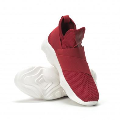 Slip- on ανδρικά κόκκινα αθλητικά παπούτσια με λάστιχα it250119-9 4