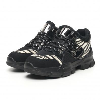 Γυναικεία αθλητικά παπουτσια τύπου Hiker σε μαύρο και ζέβρα it281019-28 3