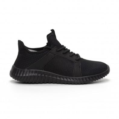 Ανδρικά μαύρα αθλητικά παπούτσια ελαφρύ μοντέλο it240419-16 2