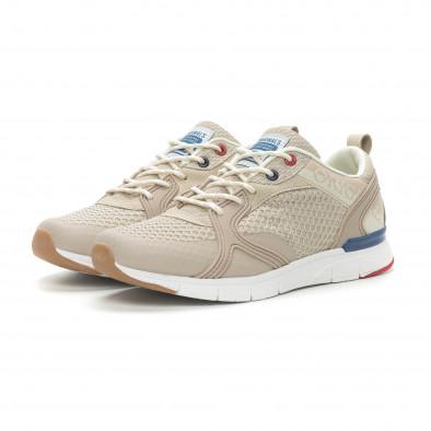 Ανδρικά μπεζ αθλητικά παπούτσια με κορδόνια it150319-30 3