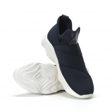 Slip- on ανδρικά μπλε αθλητικά παπούτσια με λάστιχα it250119-10 4