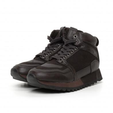 Ανδρικά ψηλά καφέ αθλητικά παπούτσια  it130819-26 3