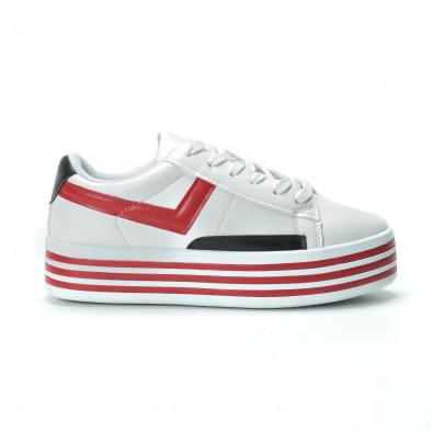 Γυναικεία λευκά sneakers με πλατφόρμα και πολύχρωμες λεπτομέρειες it250119-36 2
