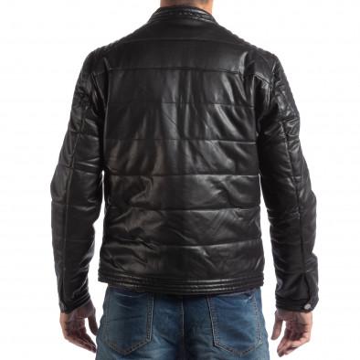 Ανδρικό μαύρο μπουφάν από συνθετικό δέρμα με γιακά μοα it250918-89 4
