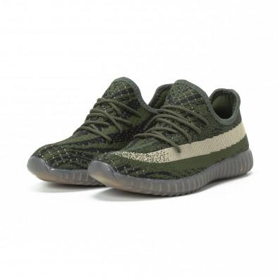 Ανδρικά πράσινα αθλητικά παπούτσια από πλεκτό ύφασμα it150818-7 3