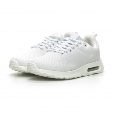 Ανδρικά λευκά πλεκτά αθλητικά παπούτσια με αερόσολα it100519-6 3