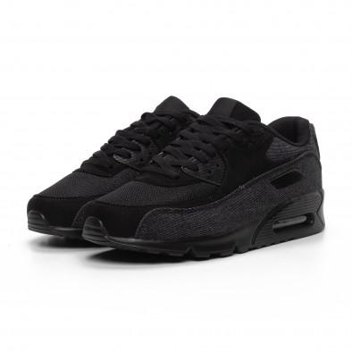 All black ανδρικά αθλητικά παπούτσια με τζιν ύφασμα it240419-17 3