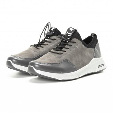 Ανδρικά γκρι αθλητικά παπούτσια από συνδυασμό υφασμάτων it221018-35 3