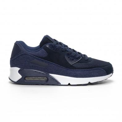 Ανδρικά μπλε αθλητικά παπούτσια με τζιν ύφασμα it240419-18 2