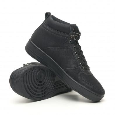 Ανδρικά ψηλά μαύρα sneakers τύπου μποτάκια it251019-18 5