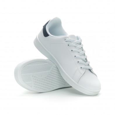 Ανδρικά Basic λευκά sneakers με μπλε λεπτομέρεια it150319-12 4