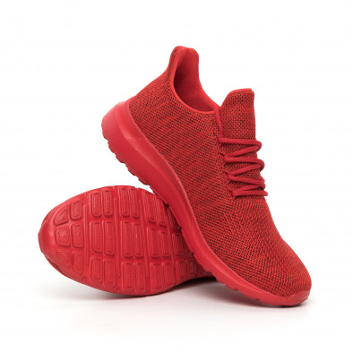 Ανδρικά κόκκινα μελάνζ αθλητικά παπούτσια με διακόσμηση it130819-11 4