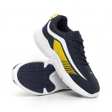 Ανδρικά μπλέ αθλητικά παπούτσια με λεπτομέρειες από λουστρίνι it130819-20 4