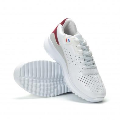 Ανδρικά λευκά αθλητικά παπούτσια με διακοσμήσεις ελαφρύ μοντέλο it250119-17 4