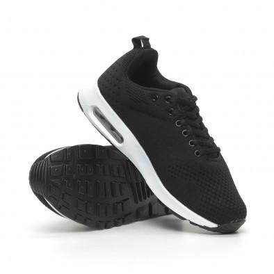 Ανδρικά μαύρα πλεκτά αθλητικά παπούτσια με αερόσολα it100519-7 4