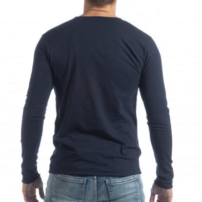 Ανδρική σκούρα μπλε μπλούζα V-neck it040219-90 3