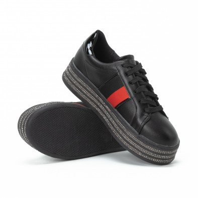 Γυναικεία μαύρα sneakers με στρασάκια και πλατφόρμα it150818-46 4