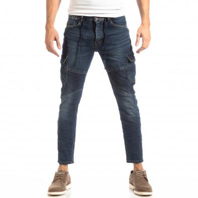 Ανδρικό μπλε τζιν Cargo Jeans σε ροκ στυλ it261018-11 3