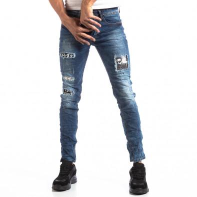 Ανδρικό τζιν Slim Jeans με διακοσμητικά μπαλώματα it250918-15 3