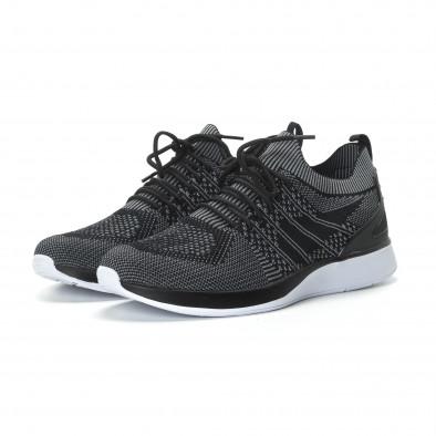 Ανδρικά μαύρα πλεκτά αθλητικά παπούτσια με γκρι λεπτομέρειες it190219-3 3
