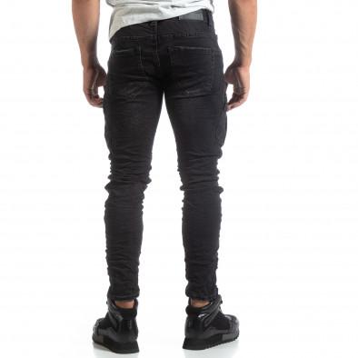 Ανδρικό μαύρο Cargo Jeans σε ροκ στυλ it170819-53 4