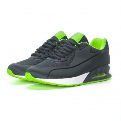 Ανδρικά γκρι αθλητικά παπούτσια με αερόσολα it190219-10 3