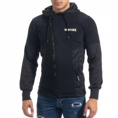Ανδρικό μαύρο φούτερ Slim fit με κουκούλα it071119-67 2