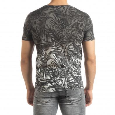 Ανδρική γκρι κοντομάνικη μπλούζα Leaves μοτίβο it150419-108 3