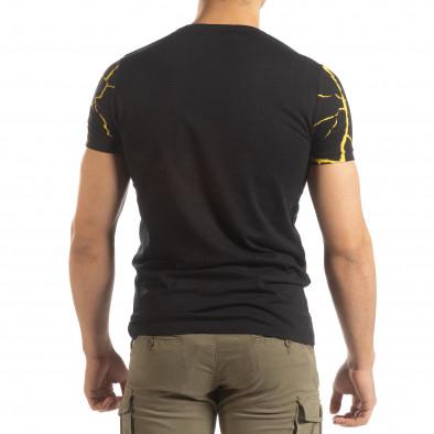 Ανδρική μαύρη- κίτρινη κοντομάνικη μπλούζα Supple it150419-111 4