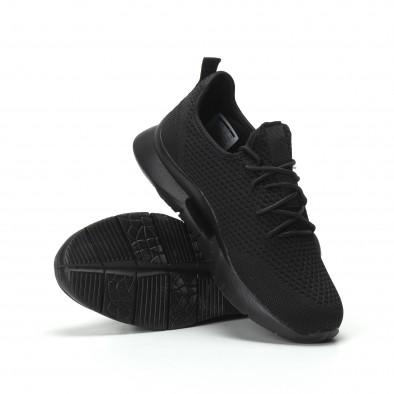 Ανδρικά μαύρα αθλητικά παπούτσια Hole design ελαφρύ μοντέλο it250119-24 4