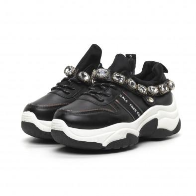Γυναικεία μαύρα αθλητικά παπούτσια με στρασάκια it260919-62 4