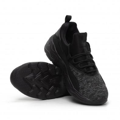 Ανδρικά μαύρα μελάνζ αθλητικά παπούτσια ελαφρύ μοντέλο it240419-21 4