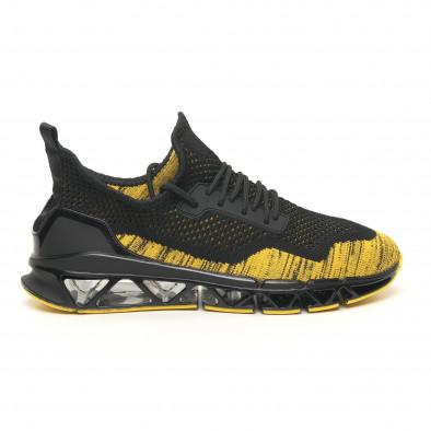 Ανδρικά μαύρα-κίτρινα αθλητικά παπούτσια Knife it251019-23 3
