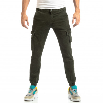 Ανδρικό πράσινο παντελόνι cargo με λάστιχο στις άκρες it261018-22 3