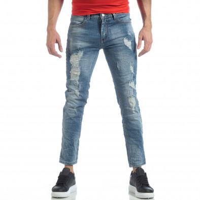 Ανδρικό γαλάζιο τζιν με σκισίματα it040219-22 3