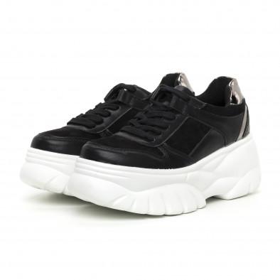 Γυναικεία Chunky αθλητικά παπούτσια μαύρα με πλατφόρμα it130819-36 3