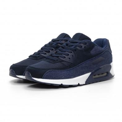 Ανδρικά μπλε αθλητικά παπούτσια με τζιν ύφασμα it240419-18 3