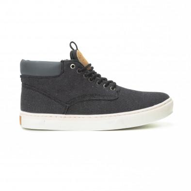 Ανδρικά μαύρα υφασμάτινα sneakers με δερμάτινη λεπτομέρεια it150818-20 2
