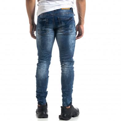 Ανδρικό γαλάζιο τζιν Vintage style Slim fit it041019-33 4