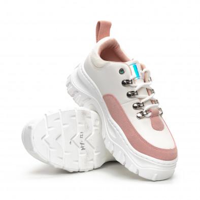 Γυναικεία Chunky αθλητικά παπούτσια σε λευκό και ροζ it240419-43 4