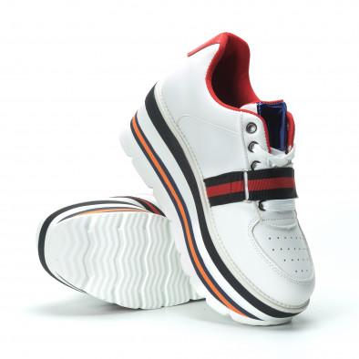 Γυναικεία λευκά sneakers με πλατφόρμα και πολύχρωμες διακοσμήσεις it250119-66 5