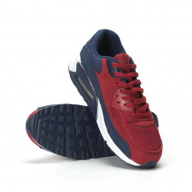 Ανδρικά αθλητικά παπούτσια Air κόκκινο χρώμα και ντένιμ it250119-27 4