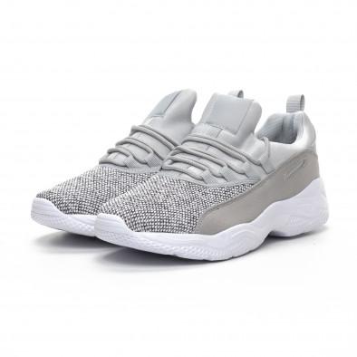 Ανδρικά γκρι μελάνζ αθλητικά παπούτσια ελαφρύ μοντέλο it240419-20 3