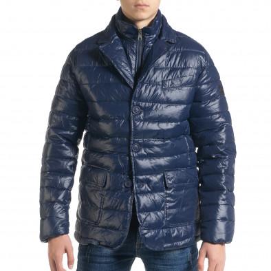 Ανδρικό μπλέ χειμωνιάτικο μπουφάν τύπου blazer it091219-16 2