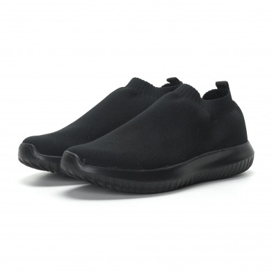 Ανδρικά χαμηλά μαύρα αθλητικά παπούτσια κάλτσα All black it190219-11 3