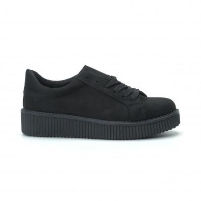 Γυναικεία μαύρα sneakers από οικολογικό σουέτ it250119-57 2